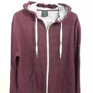 Oakley Full Zip Maroon Striped Hoodie Large